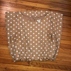 J Crew Factory EUC Tan and White Polka Dot dress